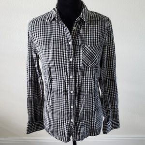 B2G1 Merona Black/White Checker Plaid Button Down
